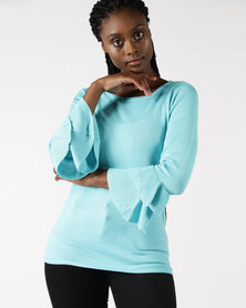 Queenspark Ruffle Sleeve Core Knitwear Top Aqua