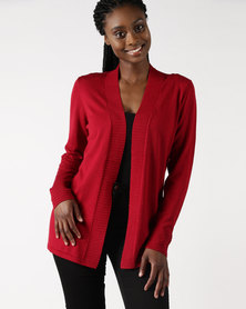 Queenspark Rib Detail Plain Core Cardigan Red