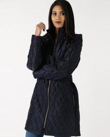 Queenspark Zip Through Hooded Quilted Coat Navy