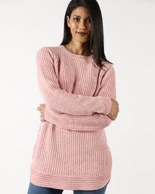 Queenspark Chenille Crew Neck Knitwear Pink