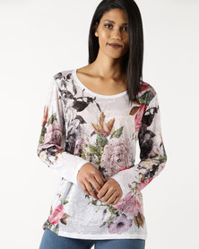 Queenspark Rose & Flower Printed Long Sleeve Fashion Knit Top Multicoloured
