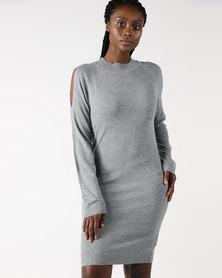 Legit Knit Dress With Back Keyhole Detail Grey Melange