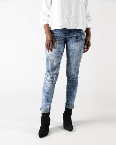 d834724cccbf Legit Patch Detail Skinny Jeans Stonewash