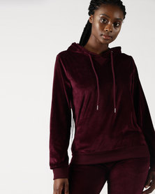 Legit Velour Active Pullover With Hoodie Burgundy