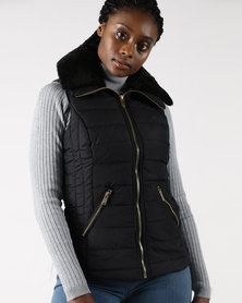 Legit Sleeveless Puffer With Faux Fur Trim Neckline Black