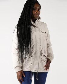 Legit Fully Fleece Lined Padded Parka Jacket Stone