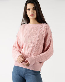 Legit Cable Knit Batwing Pullova Pink