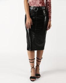 Legit Patent PU Belted Pencil Skirt Black