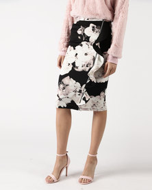 Legit Floral Pencil Skirt With Zip And Frill Detail Black