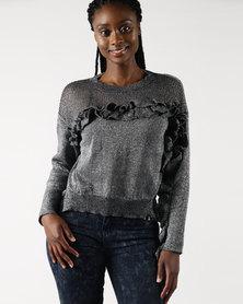 Legit Lurex Frill Pullover Grey