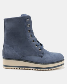 AWOL Lace Up Boots Blue