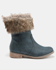 AWOL Faux Fur Collar Boots Navy