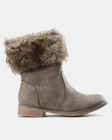 AWOL Faux Fur Collar Boots Taupe