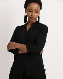 Utopia Georgette 3/4 Sleeve Blouse Black