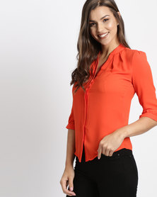 Utopia Georgette 3/4 Sleeve Blouse Orange