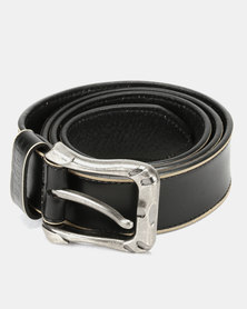 Soviet Columbo Mens Genuine Leather Belt With Contrast Stone Edging Black