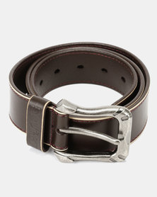 Soviet Columbo Mens Genuine Leather Belt With Contrast Stone Edging Dark Brown
