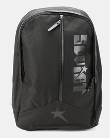 Soviet Charlton Large Nylon Backpack With Leather Trim Black