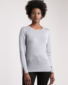 cath.nic By Queenspark Split Sleeve Knitwear Grey