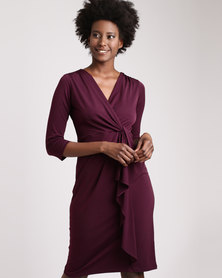 Miss Cassidy Knot Front Waterfall Knit Dress Purple