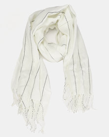Miss Maxi Striped Light Weight Scarf Cream