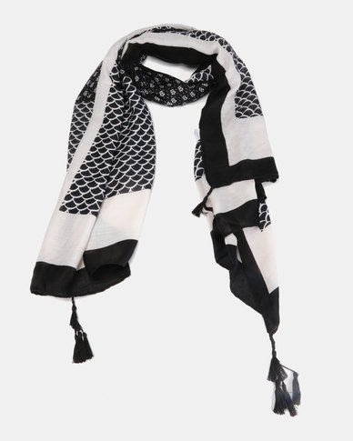 Miss Maxi Patterned Scarf Black/White