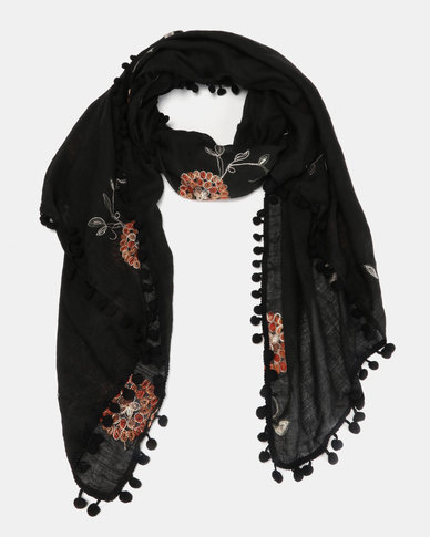 Miss Maxi PomPom Edged Scarf Black