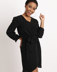 Sissy Boy Asymmetrical Wrap Dress Black