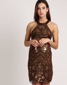 Sissy Boy Embellished Turtle Neck Dress Bronze