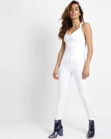 88cbe287913 Sissy Boy Halterneck Denim Jumpsuit White