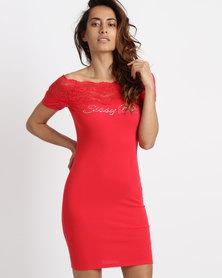 Sissy Boy Lace Detail Bardot Dress Red