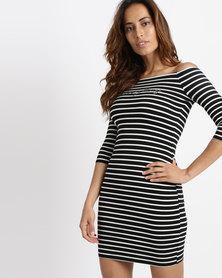 Sissy Boy Bardot Logo Stripe Dress Black & White