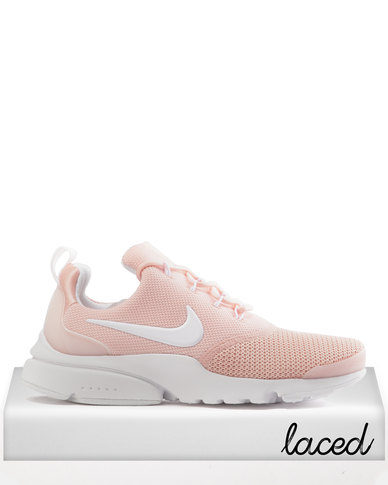 5e583d978822a Nike Womens Presto Fly Sneakers Coral Stardust White