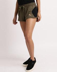 Puma Transition Womens Shorts Olive Night