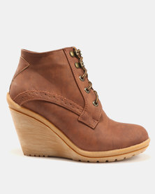 Queue Queue Gia Belted Leather Low Wedge Ankle Boots Tan cheap prices nicekicks online discount visa payment classic sale in China hnVAdBw7d