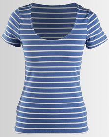 Betty Basics Scoop Neck Stripe T-Shirt Blue & White