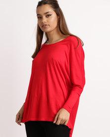 Betty Basics  3/4 Sleeve Top Red