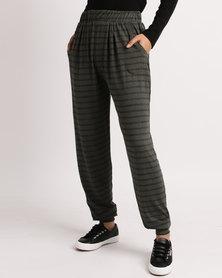 Betty Basics Stripe Joggers Khaki/Grey