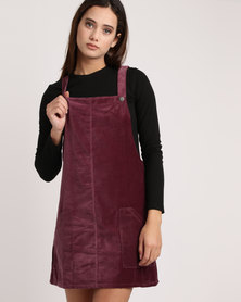 All About Eve Flick Velvet Pinafore Dress Burgundy