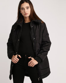 All About Eve Shelley Longer Length Puffer Jacket Black