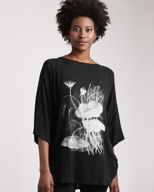 Cheryl Arthur Japanese Botanical Lotus Flower Top White Print/Black