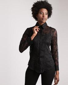 Cheryl Arthur Fully Embroidered Black
