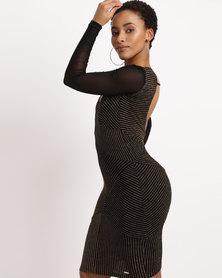 Sissy Boy Lurex Stripe Midi Dress Black & Gold