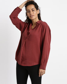 Game of Threads Tencel V-Neck Double Back Panel Blouse Bordeaux Red