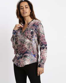 Game of Threads Double Pocket Paisley Print Blouse Cobalt