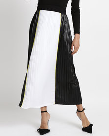 Game of Threads Colour Block Pleated Long Length Skirt Black Yellow Trim