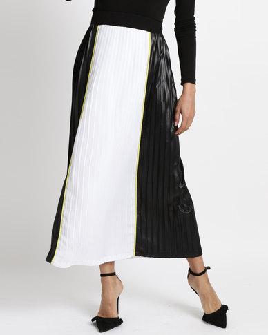 d828bab039 Game of Threads Colour Block Pleated Long Length Skirt Black Yellow Trim |  Zando