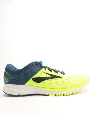 ad397b08520 Brooks Ravenna 9 Running Shoes Lime Navy Blue