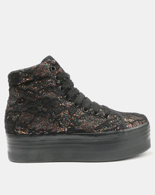 Jeffrey Campbell HOMG Black Lace Glitter