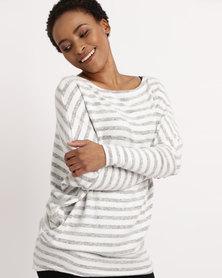 Utopia Stripe Batwing Cut n Sew Top Grey/White